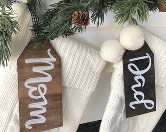 Personalized Stocking Tags, Name Place Cards, Personalized Wood Gift Tags