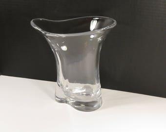 Vintage Signed Orrefors Art Glass Grand Crystal Vase from Sweden