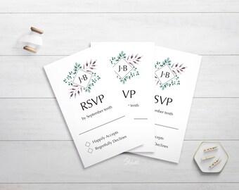 The J&B RSVP Wedding Invitation, Modern Botanical Wedding Invitation, Type Wedding RSVP Invitation