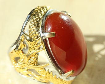 Dragon Red Agate Ring, Size 9