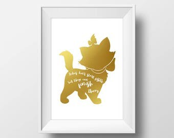 Wall Art Gold Foil Didital Aristocats Print,Disney Quote Print,Printable Foil Disney,Glitter,Nursery Print,Baby Gift,Room Decor