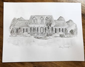 Black and white watercolor painting of House