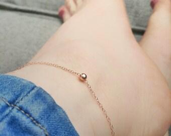 Rose gold Anklet. Rose gold anklet chain. Minimalist rose gold ankle. Rose gold bead anklet. Chain anklet. Dainty rose gold anklet
