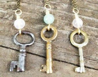 Vintage Skeleton Key Leather Necklaces