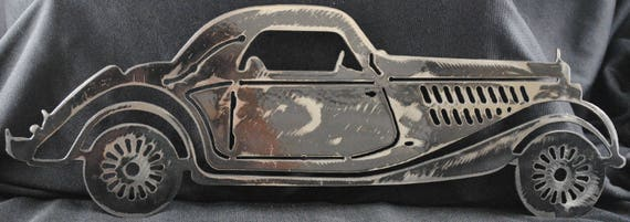 "1935 English Car 16"", Metal English Car, Luxury Car, Metal Wall Art, Metal Decor, Home Decor, Office Decor, Man Cave Decor, Automotive Art"