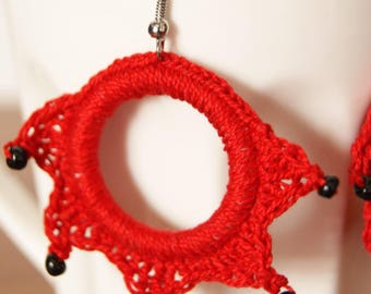 Crochet red cotton thread and black beads earrings