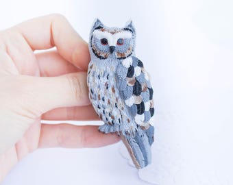 Brooch owl Brooch owl grey Brooch owl clay Great grey owl Spotted owl Bird grey handmade Owl brown-white Owl brooch gift Owl brooch gift