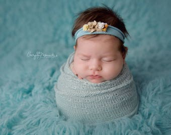Robins Egg Blue Tieback - Cream Ivory and Taupe Tieback - Baby Headband - Newborn Photo Props - Photography Prop Tieback - RTS Newborn Props