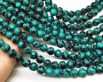 1Full Strand 8mm Turquoise Round Beads ,  Howlite Turquoise Gemstone For Jewelry Making