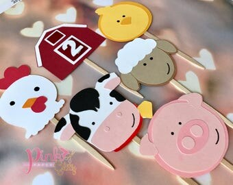 Farm animals cupcake toppers, farm toppers, toppers farm animals, Cow, Pig, Rooster, Cat, Sheep, Hen, Horse
