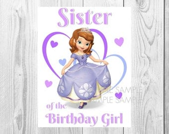 Sofia the First Birthday Iron On Shirt Transfer, Disney Princess tshirt or clip art printable Instant Download, Sister of the Birthday Girl