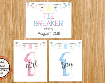 Tie Breaker Pregnancy Announcement Sign, Pregnancy Reveal, Printable, Pink or Blue, Instant Download, Boy and Girl Sign, due August 2018