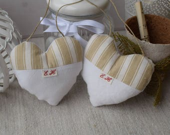 Two hearts in white cloth and ticking Brown - heart door pillow - decorative hanging heart - set of two hearts - hearts