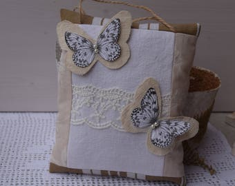 Pillow of door decorative butterflies and lace - wallboard fragrant Lavender - linen and paper Butterfly - hanging cushion