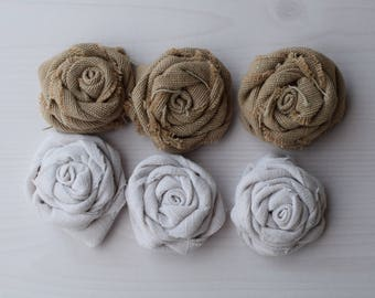 Roses in white and beige fabric - made fabric rose hand - set of six shabby roses - material for creation.