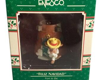 "Enesco Treasury of Christmas ""Feliz Navidad"" Vintage Christmas Ornament 1989"