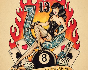 Lady Luck. Old School Tattoo print.