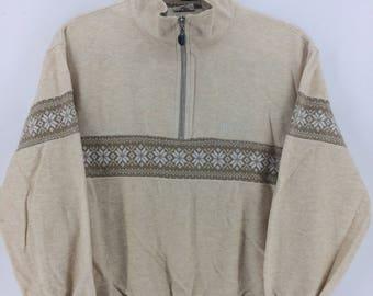 Vintage 90's Ellesse Cream Sport Classic Design Skate Sweat Shirt Sweater Varsity Jacket Size M #A785