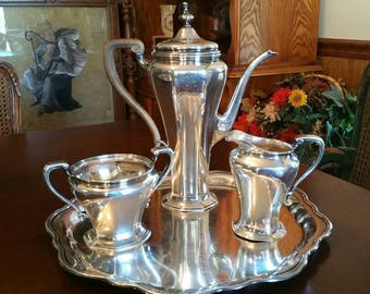 Sterling silver tea or coffee set with tray