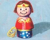 Wonder Woman! Matted print of an original acrylic painting by Greta Watkins