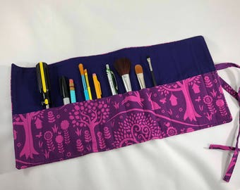Purple forest pencil/brush/tool roll-up case