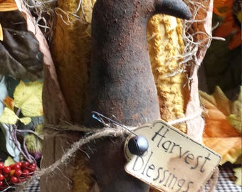 Primitive Corn Cobs With Crow, Rustic Corn & Crow, Harvest Corn Cobs and Crow,  Stand Alone Fall Corn and Crow, Primitive Shelf Sitter