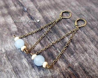 Pair of bronze Stud Earrings, Agate bead.