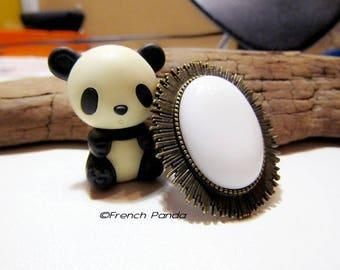 "Beautiful large bronze Adjustable ring ""porcelain"""