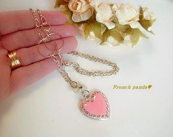 Long necklace mi silver, pink enamel heart
