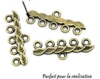 Set of 8 antique brass bracelet connectors