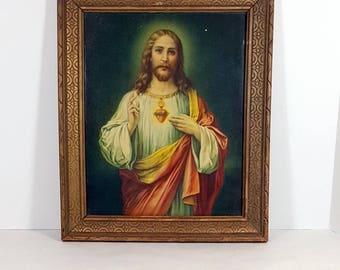 VINTAGE JESUS PRINT Framed Religious Art Print Original Frame 1940s Catholic Sacred Heart