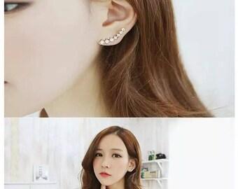 Rhinestone cuffs earrings, climber earrings, Clip Earrings, crystal jacket clip on earrings, cool Clip on Earrings, Non Pierced Earrings