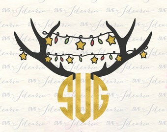 Master circle svg, Christmas monogram svg, antlers svg, christmas antlers svg, reindeer monogram, svg circle monogram, christmas lights svg