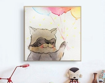 Baby Raccoon art print Woodland Nursery Decor Funny Raccoon Watercolor Painting Art for Kids Room Woodland Nursery Wall Art