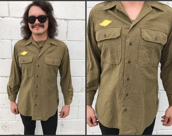 1940's Green Patched Military Button Down Shirt