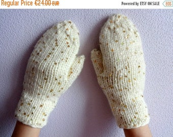 SALE 15% Hand Knitted Women's Teen's White Mittens with Golden Gloss Wool and Other Fibres Mittens