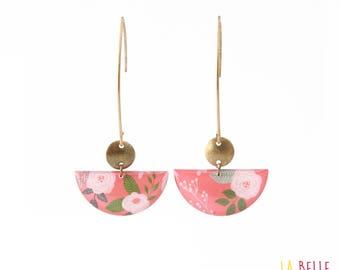 Crochet coral floral half moon earrings