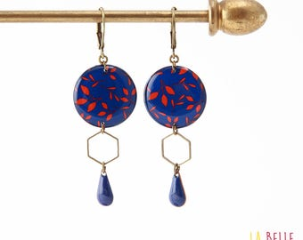 Resinees earrings round floral blue and Red Hexagon