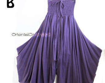 Crosscut Irregular Bottom Flare Skirt/Dress Cotton100% Purple Boho Hippie Peasant Asian Goth