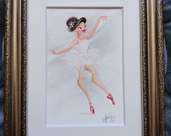 White Ballerina Gouache Painting