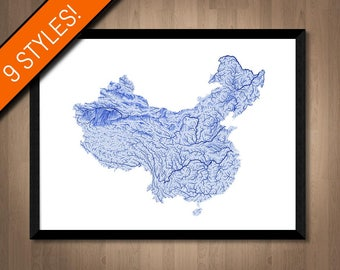 Rivers of China map art | Printable China map print, China print, China poster, China art, China gift, Printable poster map, Wall art map