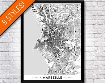 Buildings of Marseille map art | Printable Marseille map print, Marseille print, Marseille poster, Marseille art map, France map wall art