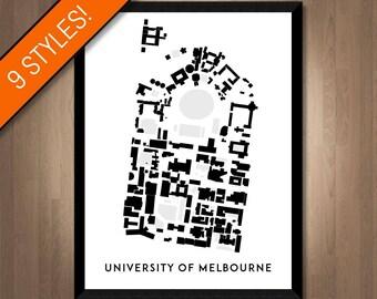 University of Melbourne map   Printable Melbourne graduation gift, UMelb gift, Melbourne gift, Australia graduation gift, Campus map gift