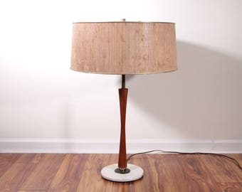 Gerald Thurston table lamp with grass cord shade