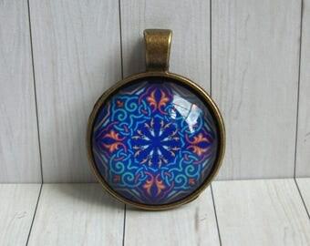 Mystery : Mandala Pendant Blue Geometry Shapes Tiles