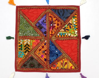 Handmade Hippie Gypsy Home Decor Ethnic Multi color Embroidered Hippy Patchwork Bohemian Pillow Shams Couch Cushion Cover Case G793