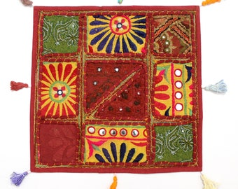 Handmade Hippie Gypsy Home Decor Ethnic Multi color Embroidered Hippy Patchwork Bohemian Pillow Shams Couch Cushion Cover Case G745
