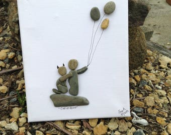 Pebble art, art on canvas, handmade