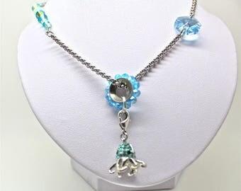 strassed octopus charm with jaseron inox chain and swarovski elements