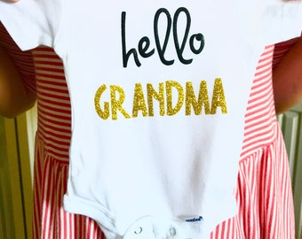 Pregnancy Announcement Hello Grandma Gift For Mom, Gold, New Oma, Great Grandma, First baby, Pregnancy Announcement, Pregnancy Reveal